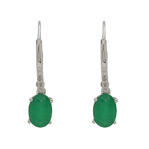 LIMITED QUANTITIES! Diamond Accent Genuine Emerald 14K Gold Drop Earrings