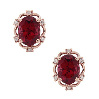 jcpenney.com | Diamond Accent Oval Red Rhodolite 10K Gold Stud Earrings