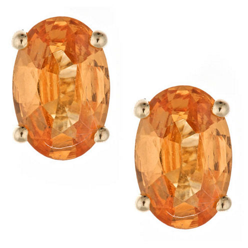 LIMITED QUANTITIES! Oval Orange 14K Gold Stud Earrings