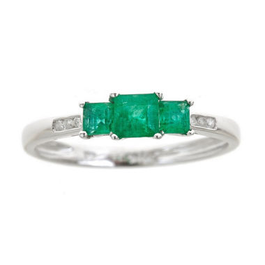 jcpenney.com | Womens Diamond Accent Green Emerald 10K Gold Cocktail Ring