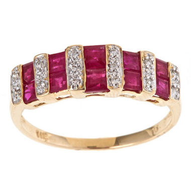 jcpenney.com | Womens Diamond Accent Red Ruby 10K Gold Band