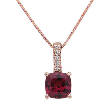 jcpenney.com | Womens Diamond Accent Red Rhodolite 14K Gold Pendant Necklace
