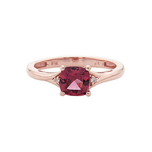 LIMITED QUANTITIES! Diamond Accent Red Rhodolite 10K Gold Delicate Ring