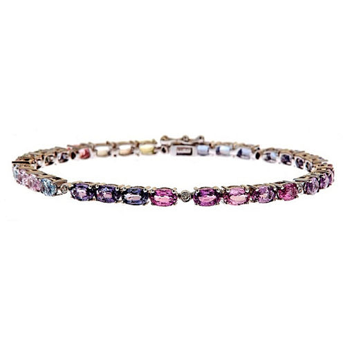 LIMITED QUANTITIES! Diamond Accent Pink Sapphire 14K Gold Tennis Bracelet