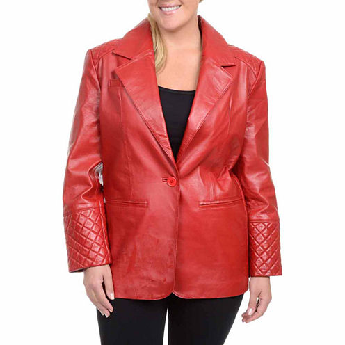 Excelled Leather Blazer-Plus