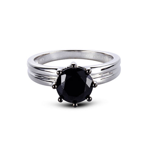 Womens Black Spinel Sterling Silver Solitaire Ring