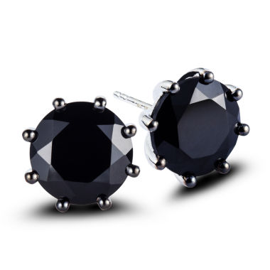 jcpenney.com | Round Black Spinel Sterling Silver Stud Earrings