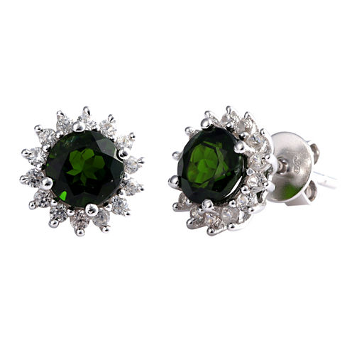 Round Green Chrome Diopside Sterling Silver Stud Earrings