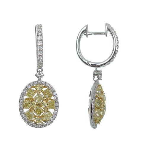 2 1/2 CT. T.W. Yellow Diamond 18K Gold Drop Earrings