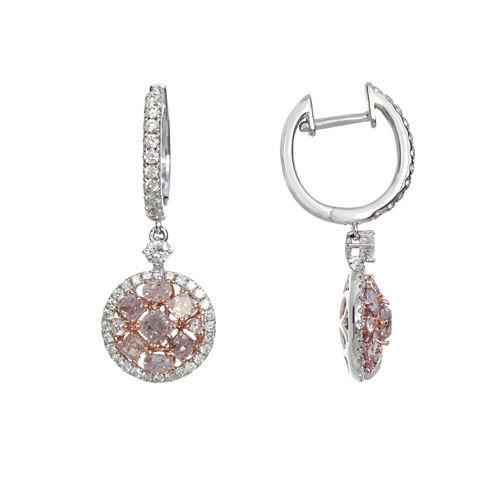 2 CT. T.W. Pink Diamond 18K Gold Drop Earrings