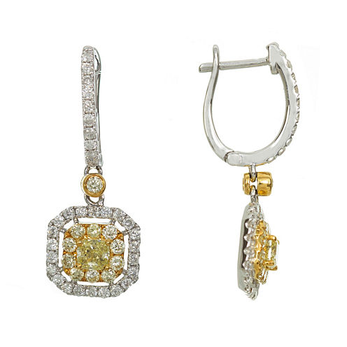 1 1/3 CT. T.W. Yellow Diamond 18K Gold Drop Earrings