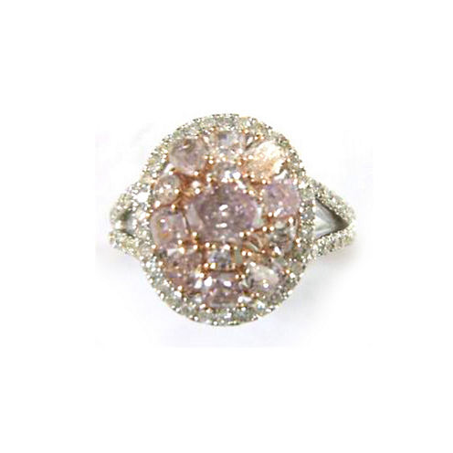 Womens 7/8 CT. T.W. Pink Diamond 18K Gold Engagement Ring