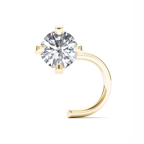 14K Yellow Gold Diamond-Accent 1.8mm Nose Screw Ring