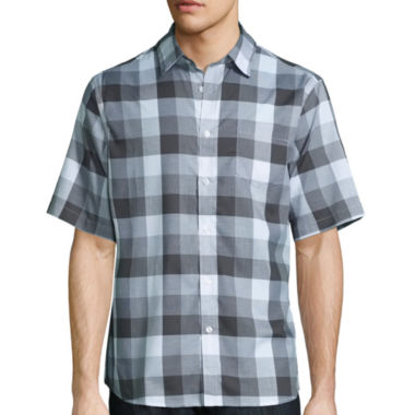 jcpenney.com | Claiborne Short Sleeve Black White Woven Button-Front Shirt