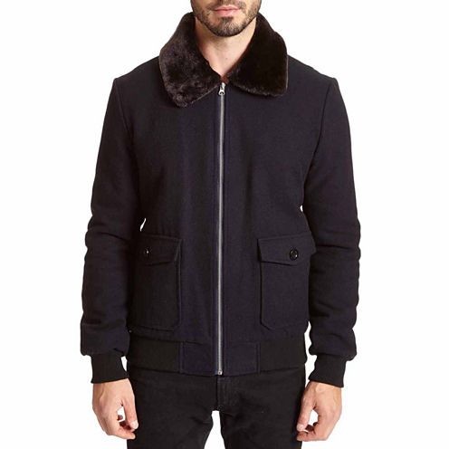 Excelled Faux Wool Bomber Jacket