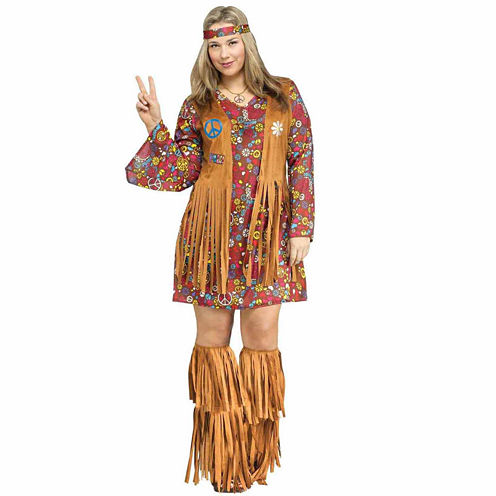Peace And Love Hippie 3-pc. Dress Up Costume Plus
