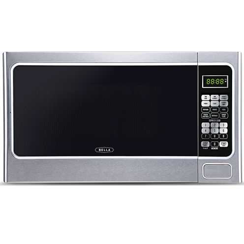 Bella 1000-Watt Stainless and Black Microwave Oven, 1.1 Cubic Feet