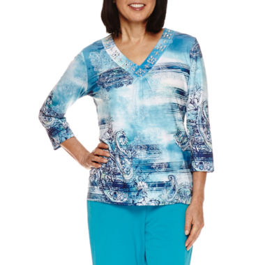 jcpenney.com | Alfred Dunner Adirondack Trail 3/4 Sleeve V Neck T-Shirt