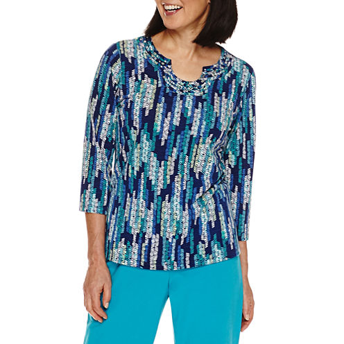 Alfred Dunner Adirondack Trail 3/4 Sleeve V Neck T-Shirt