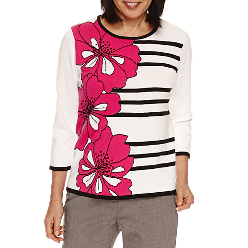 Alfred Dunner Theater District 3/4 Sleeve Floral Graphic Stripe Pullover Sweater