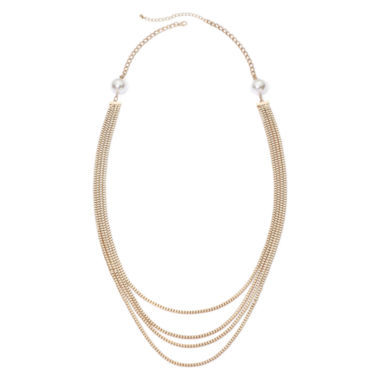 "jcpenney.com | Mixit™ Simulated Pearl 34½"" 4-Row Chain Necklace"