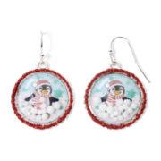 Silver-Tone Christmas Penguin Snow Globe Earrings
