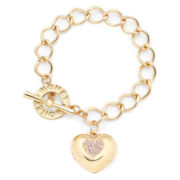 Monet® Gold-Tone Pink Heart Locket Bracelet