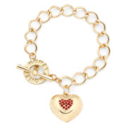 Monet® Gold-Tone Red Heart Locket Bracelet