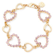 Monet® Gold-Tone Pink Heart Bracelet