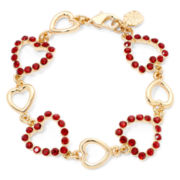 Monet® Gold-Tone Red Heart Bracelet