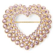 Monet® Gold-Tone Pink Openwork Heart Pin