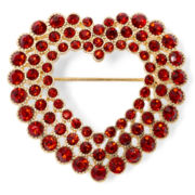 Monet® Gold-Tone Red Openwork Heart Pin