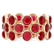 Liz Claiborne® Gold-Tone Red Stretch Bracelet