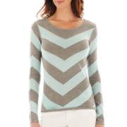 Liz Claiborne® Long-Sleeve Chevron Sweater - Tall