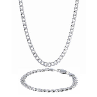jcpenney.com | Mens Stainless Steel 7mm Curb Chain & Bracelet Boxed Set