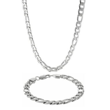 jcpenney.com | Mens Stainless Steel 9mm Figaro Chain & Bracelet Boxed Set