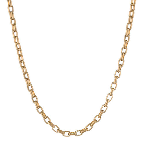 """Mens Stainless Steel & Gold-Tone IP 22"""" 4mm Foxtail Chain"""