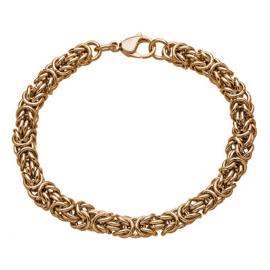 "jcpenney.com | Mens Stainless Steel & Rose-Tone IP 8"" 7mm Byzantine Bracelet"