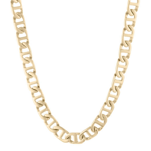 """Mens Stainless Steel & Gold-Tone IP 24"""" 10mm Marine Link Chain"""