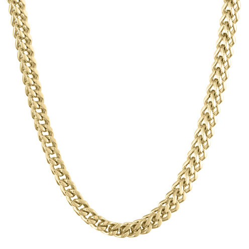 """Mens Stainless Steel & Gold-Tone IP 24"""" 6mm Foxtail Chain"""