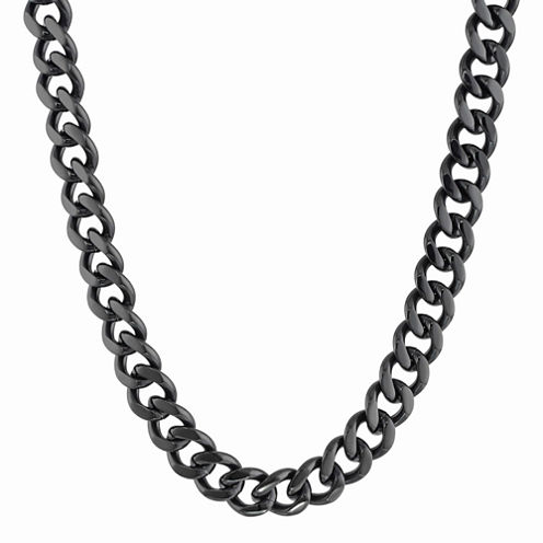 """Mens Stainless Steel & Black IP 22"""" 12mm Curb Chain"""