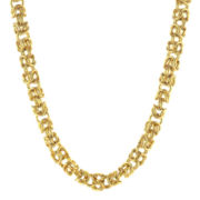 "Mens Stainless Steel & Gold-Tone IP 18"" 7mm Byzantine Chain"