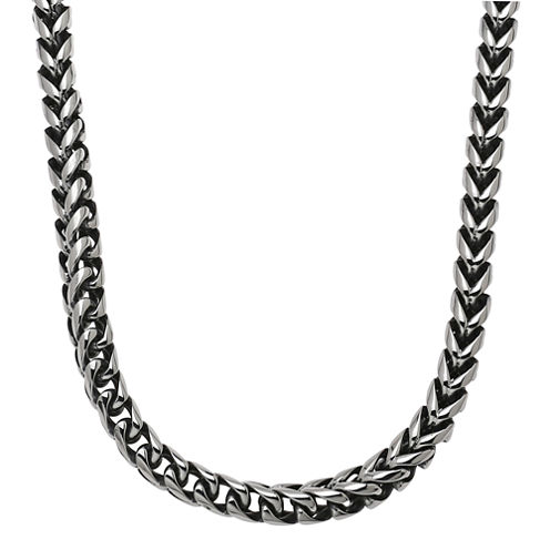 """Mens Stainless Steel & Black IP 24"""" 8mm Foxtail Chain"""