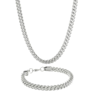 jcpenney.com | Mens Stainless Steel 6mm Foxtail Chain & Bracelet Boxed Set