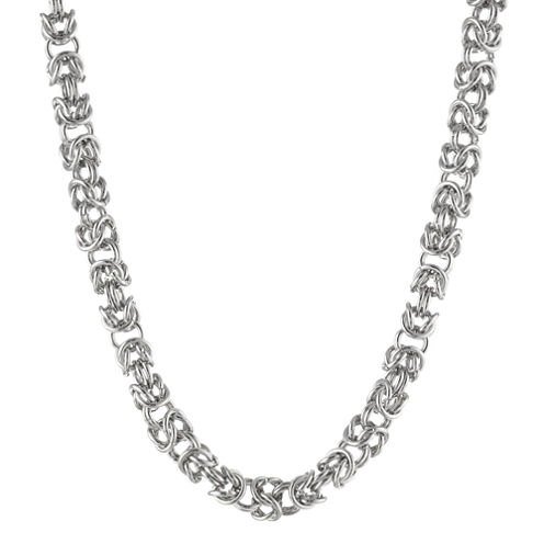 """Mens Stainless Steel 24"""" 7mm Byzantine Chain"""