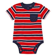 Okie Dokie® Short-Sleeve Striped V-Neck Bodysuit - Boys newborn-9m