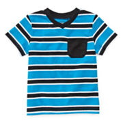 Okie Dokie® Short-Sleeve Striped V-Neck Tee - Boys 12m-24m