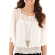 by&by Flutter-Sleeve Necklace Blouse
