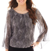 by&by Bell-Sleeve Crochet-Trim Top