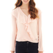 by&by Long-Sleeve Ruffled Top